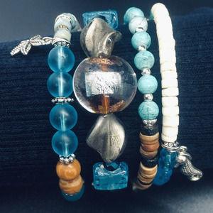 Beach & Ocean Themed 4 Stack Bracelet